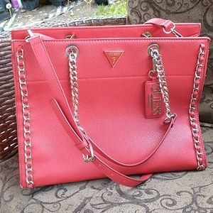 GUESS Large Red Leather Chain Crossbody Bag